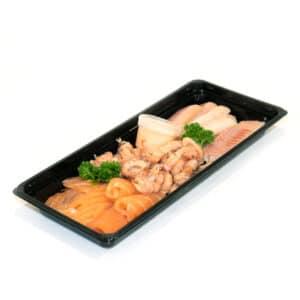 Trio van paling, zalm en garnalen